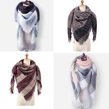 Бренд GROUPJUMP, Модный зимний шарф для женщин, обертывания, треугольный теплый шарф, Клетчатое одеяло, кашемировый женский шарф, женский шарф, Прямая поставка
