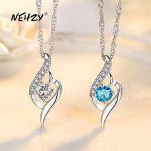 NEHZY – collier en argent Sterling 925 pour femme, pendentif cœur en cristal Zircon de haute qualité, longueur 45CM, nouvelle collection