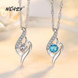 NEHZY 925 Sterling Silver New Woman Fashion Jewelry High Quality Crystal Zircon Heart Pendant Necklace Length 45CM
