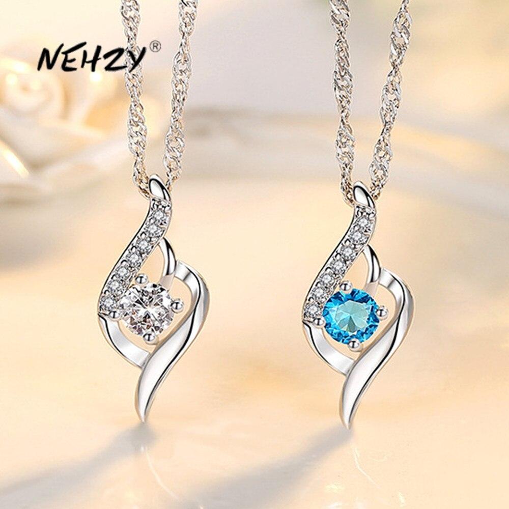 NEHZY 925 en argent Sterling nouvelle femme bijoux de mode de haute qualité cristal Zircon coeur pendentif collier longueur 45CM