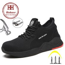 Hohner Security Work Shoes Men Black Indestructible Breathable  Safety Steel Toe Anti-smashing Construction Sneaker Boots