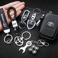1 шт. автомобильный брелок, 3D металлический кожаный брелок, Модный логотип, чехол для ключей, автомобильный брелок для Toyota Prius Avensis Rav4 Auris Yaris ...