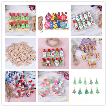 10 / 12 / 50pcs Mini Memo Paper Clips Christmas tree Bear Wooden Clips For Photo Clips Clothespin Craft Decoration Clips Pegs