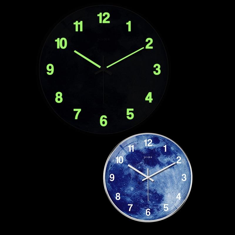 14 pouces horloge murale muet veilleuse salon horloges lumineuses moderne Quartz décor chambre horloge rougeoyante pour la maison - 3