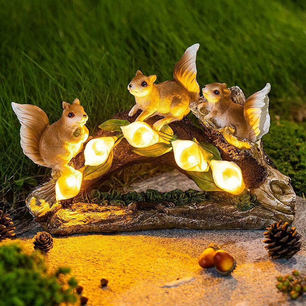 Solar led jardim iluminação decoração artesanato resina esquilo led gramado escultura jardim quintal decoracao para quintal e jardim