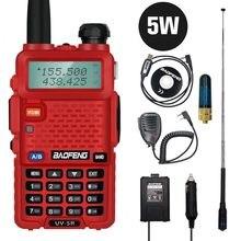 Красный цвет Baofeng Радио UV-5R 5 Вт Портативный любительский радио двухдиапазонный рация fm-приемопередатчик CB радио 10 км дальность разговора
