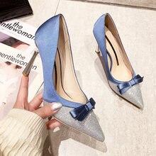 2021 paillettes/raso scarpe col tacco alto donna colori misti riband bow décolleté scarpe 9cm tacco a punta femminile marchio di lusso di alta qualità