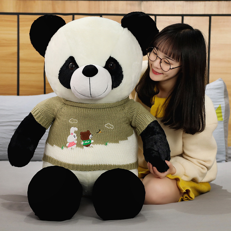 100cm Cute Baby Big Giant Sweater Panda Bear Plush Stuffed Animal Doll Animals Toy Pillow Cartoon Kawaii Dolls Girls Lover Gifts