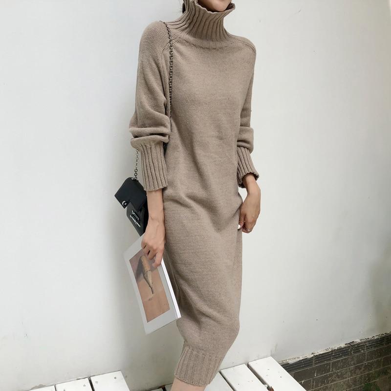 Sweater Dress Women Knitted Turtleneck Solid Dress Autumn Winter Warm Knit Female Dress Loose Midi Vestidos Dresses Big Sizes
