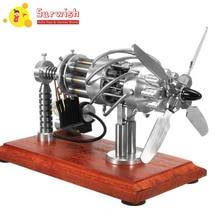 Высокая Рекомендуемая 1 шт 16 цилиндров Swash пластина горячего воздуха Стирлинга Модель двигателя-серебро