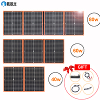 Xinpuguang solar panel 40w 50w 60w 80w 100w 12v flexible foldable usb portable solar cell kit for boats outdoor camping car RV