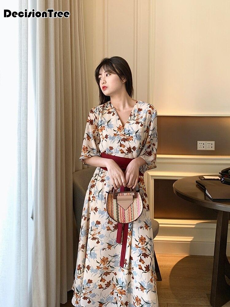 2020 Japanese Kimono Dress Women Improved Kimono Mujer Yukata Japan Dress Flower V Neck Dress Kimono Lady Printed Dress With Obi