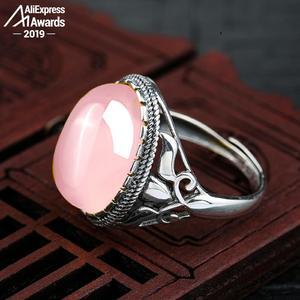 Image 2 - Oh meu deus tão bonito 12*16mm s925 prata esterlina áfrica rosa anéis de quartzo loja presente lituânia chalcedônia