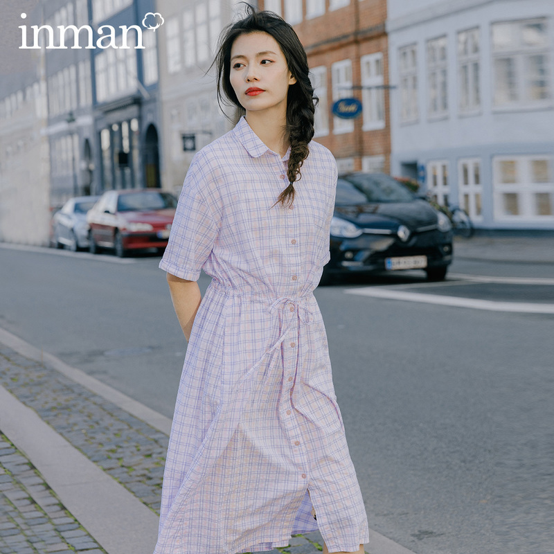 INMAN 2020 Spring New Arrival Cotton Plaid Short Sleeve Slimmed Nipped Waist Drawstring Blouse
