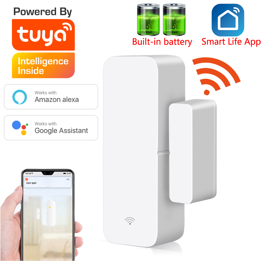 Tuya Smart  WiFi Door Sensor Door Open   Closed Detectors Compatible With Alexa Google Home  Smar tLife APP Free Customised LOGO