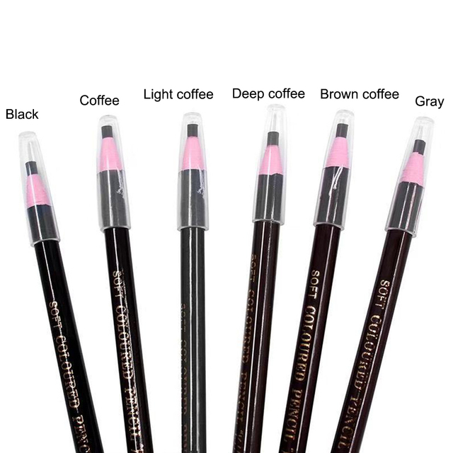 6 Colors Eyebrow Pencil Free Cutting Natural Long Lasting Black Brown Coffee Microblading Permanent Waterproof Eyebrow Make Up