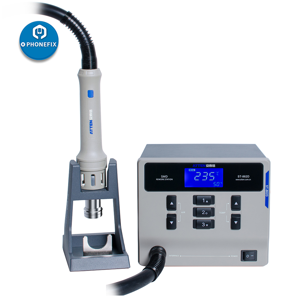 ATTEN ST-862D Hot Air Rework Station 1000W Digital Display Quick 861DW For PCB Motherboard Soldering Repair Welding Station