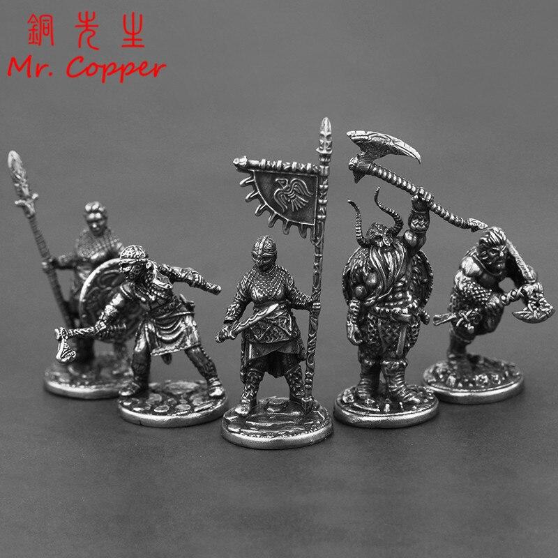 Cobre branco viking pirate legion soldados modelo figuras miniaturas ornamentos de mesa do vintage metal estátua decoração brinquedos presentes