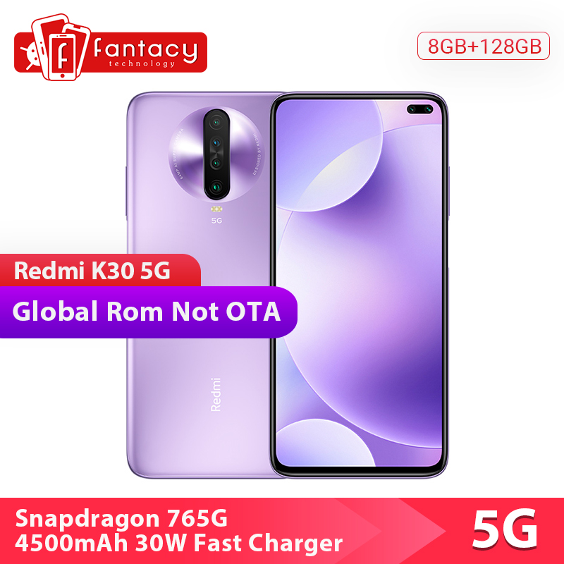 Global Rom Xiaomi Redmi K30 5G Snapdragon 765G 8GB 128GB Cellphone Octa Core 64MP Quad Cams 120HZ FluidScreen 4500mAh 30W Charge