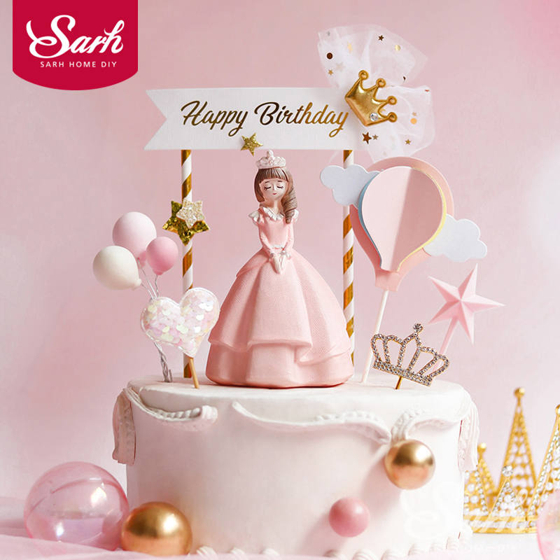 Long dress Large Princess Decoration Banner Gold Crown Happy Birthday Cake Topper for Wedding Party Bride Baking Supplies Gifts