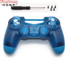 クリアブルー PS4 プロの前面プレートのケース交換プレイステーション 4 デュアルショック 4 プロ 4.0 V2 コントローラ JDM 040 JDS 040