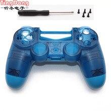 Чехол с лицевой панелью для Playstation 4 Dualshock 4 PRO 4,0 V2 Controller JDM 040 JDS 040, прозрачный, синий, для PS4 Pro