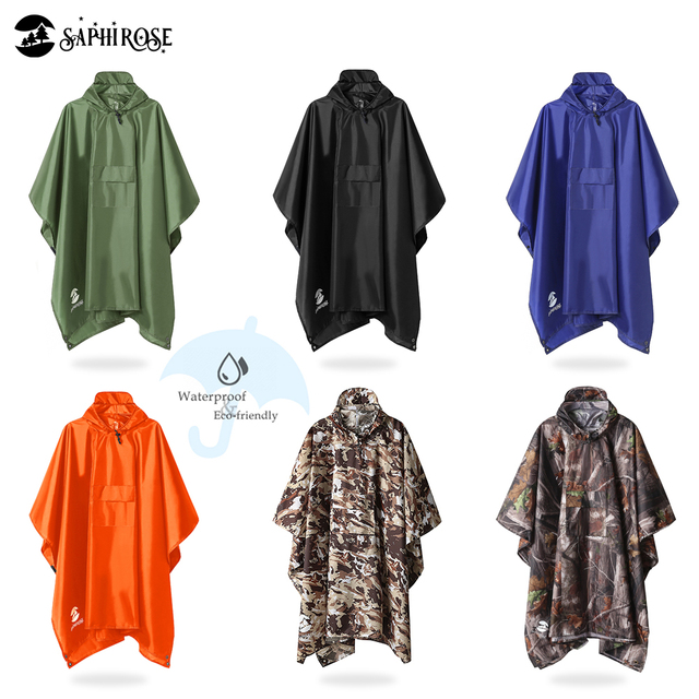 SaphiRose 3 in 1 Hooded Rain Poncho Waterproof Raincoat Jacket for Men Women Adults Outdoor Tent Mat 6