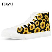 FORUDESIGNS Classic Sunflower Print High Top Canvas Shoes Casual Vulcanized Shoes for Women Personalized Ladies Flat Sneakers