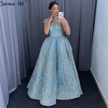 Clear Water Blue High Collar Prom Dresses 2019 Short Sleeve Lace Sequined Bridal Gowns Design Real Photo DHM66981