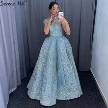 Klar Wasser Blau Hohe Kragen Prom Kleider 2019 Kurzarm Spitze Pailletten Brautkleider Design Real Photo DHM66981