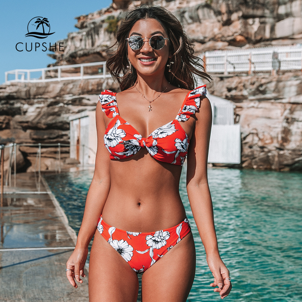 CUPSHE Red Floral Knotted Ruffled Bikini Sets Sexy Bow Low-rise Swimsuit Two Pieces Swimwear Women 2020 Beach Bathing Suit