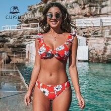 CUPSHE Rot Floral Verknotet Ruffled Bikini Sets Sexy Bogen Low rise Badeanzug Zwei Stück Bademode Frauen 2020 Strand Bade anzug