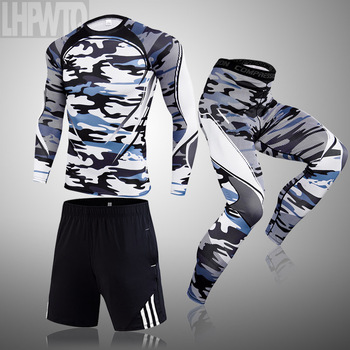 3-piece sets Compression Suits Men's Quick Dry set Clothes Sport Running MMA jogging Gym work out Fitness Tracksuit clothing 28