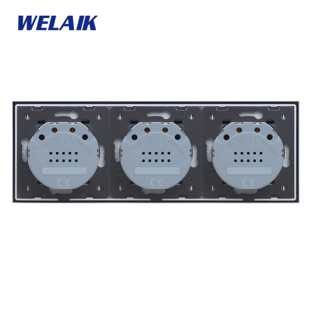 Image 5 - WELAIK Brand 3Frame Crystal Glass Panel  EU Wall Switch EU Touch Switch Screen Light Switch 1gang1way AC110~250V A39111111CW/B-in Switches from Lights & Lighting