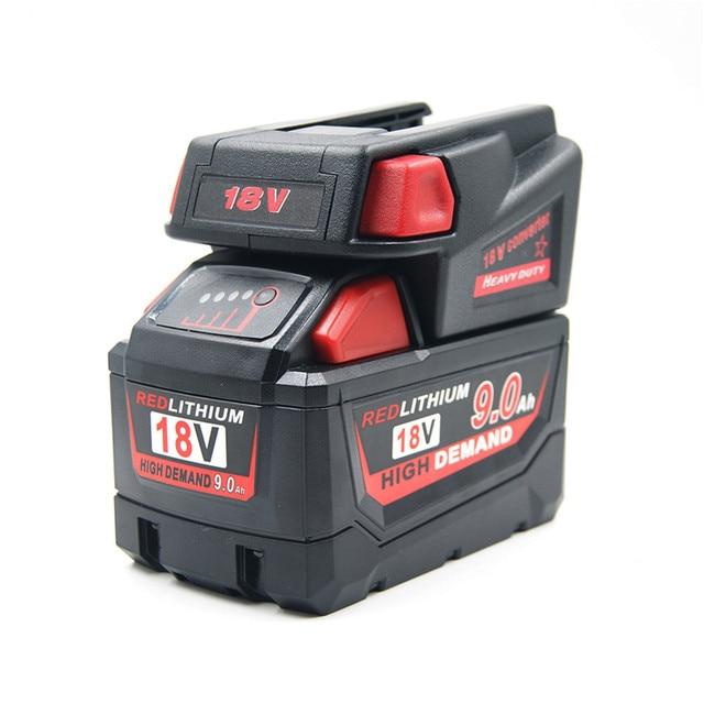 Krachtige USB Batterij Adapter Converter voor Milwaukee M18 18V Li Ion Batterij V18 Li Ion Batterij Batterijen Converter Adapter