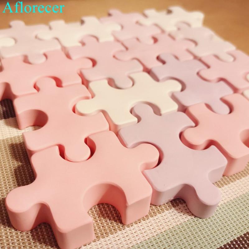 Puzzle Shape Silicone Soap Mold Aroma Plaster Gypsum Mould DIY Ice Cube Tray Molds Chocolate Cake Decorating  Tools