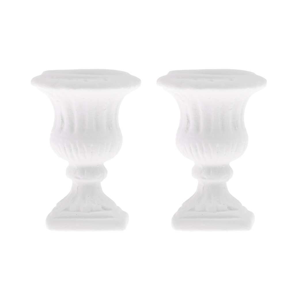 2pcs 1/12 White Flower Pot Doll House Miniature Garden Decoration
