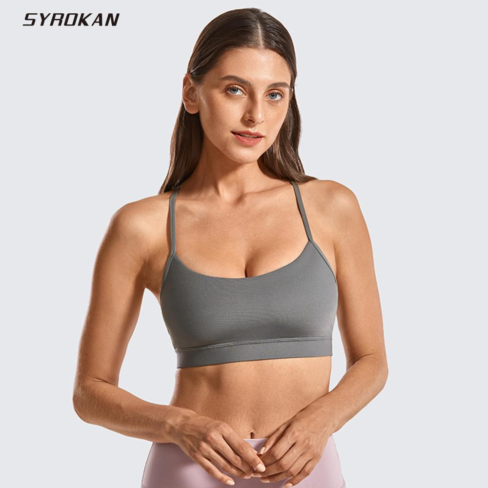SYROKAN Brushed Low Impact Strappy Sports Bra For Women Y Racerback Yoga Bra Tops With Removable Pads