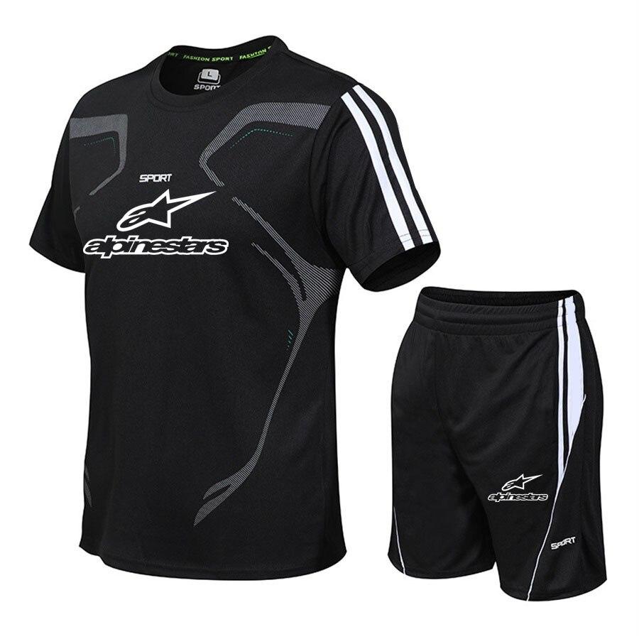 Summer Casual Men Set Men's Sportwear Fitness Set Fashion Summer Short Sleeve T-shirt Shorts Sets Male Sportswear Tracksuit Male
