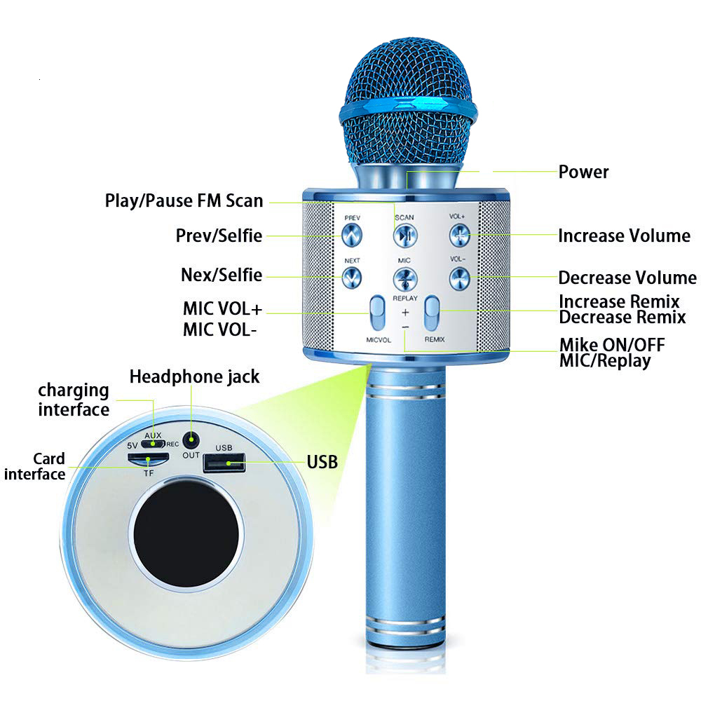 lowest price Bluetooth Handheld Karaoke Speaker Player Machine for Kids Adults Home KTV Party for Android Iphone Ipad Pc Girl Boy  Blue
