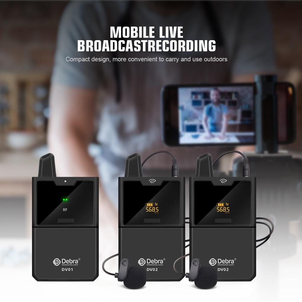 Debra DV UHF Interview Drahtloses Lavalier-Mikrofon mit Audiomonitor 50M Reichweite für Telefone DSLR-Kameras Live-Aufnahme