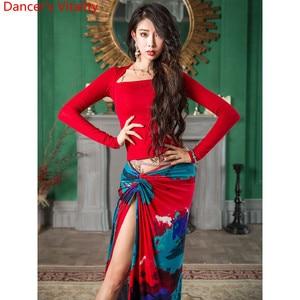 Image 3 - בטן ריקוד ללבוש Slim Fit נשים סתיו חדש 3 צבע למעלה מודאלי ארוך חצאית מזרחי הודי ריקוד תרגול קבוצתי אימון בגדים