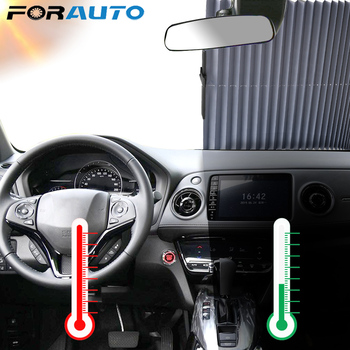FORAUTO Sun Visor Protector Adjustable Car Window Sunshade Car Windshield Sun Shade Automatic Extension With Strong Suckers