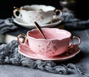 Кофейные чашки с ложкой блюдо романтическая вишневый цвет тисненая керамическая чашка для молока чаша для свадьбы бинауральная суповая ми...