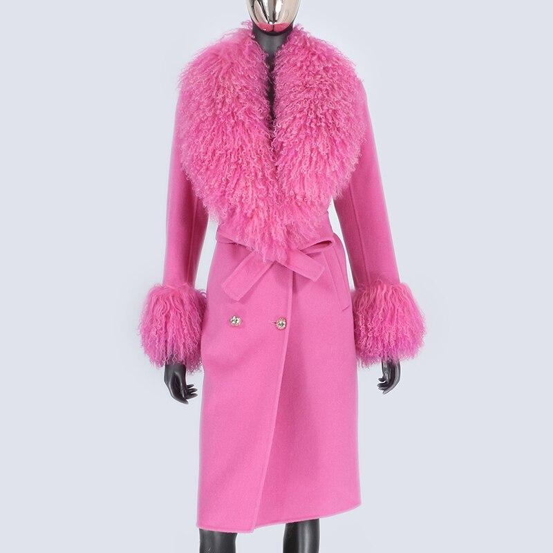 H722ed63473e64265b7ea73cc03fe3300A 2021X-Long Natural Mongolia Sheep Real Fur Coat Autumn Winter Jacket Women Double Breasted Belt Wool Blends Overcoat Streetwea