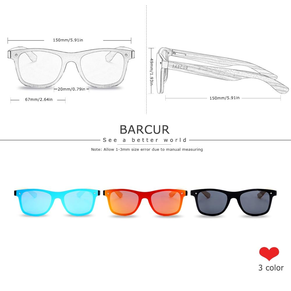 BARCUR Luxury Vintage Sun Shade Men Wooden Sunglasses UV400 Protection Fashion Square Sun glasses Women 2