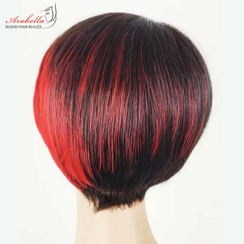 Straight Wig Ombre Glueless Wig 100%  Wigs Pixie Cut Wig  Highlight Arabella  Hair Wig With Bangs 3