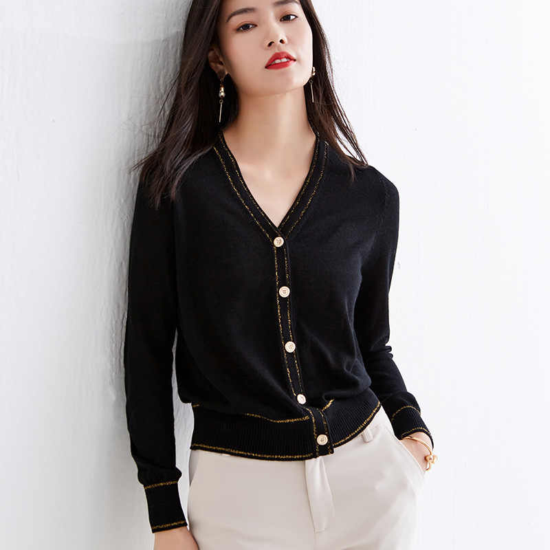 2020 봄 여성의 새로운 상위 색상 대비 짧은 코트 여성의 얇은 v-목 스웨터 느슨한 작은 향기 니트 카디 건