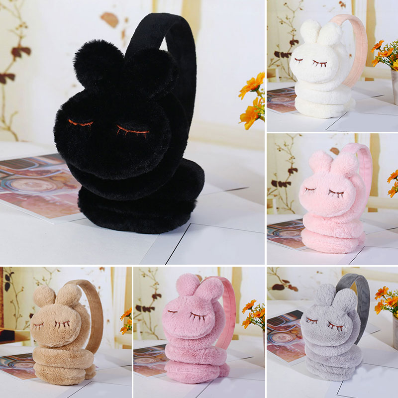 3D Rabbit Fur Headphones Girl Winter Warm Headphones Rabbit Earcap Children Lovely Earmuffs Plush Ear Warmer Girls Ear Cover New