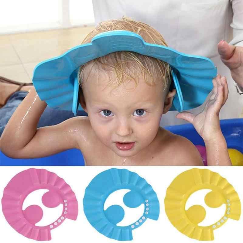 サイズ変更ベビーシャワーキャップキッズセーフシャンプーバスお風呂シャワーキャップハットウォッシュ髪シールド調整可能弾性シャンプーキャップ